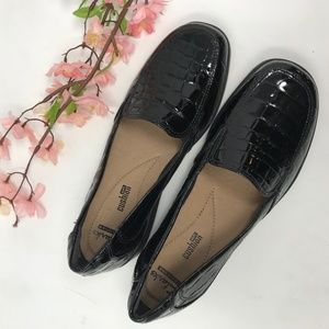 Clarks Black Leather Croc Loafers 7.5